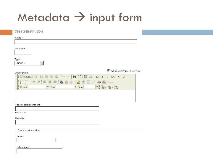 Metadata input form