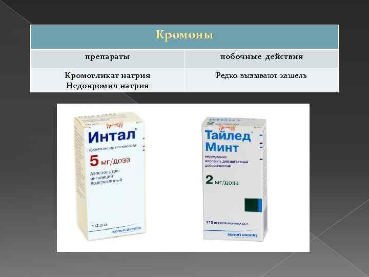 Кромоны препараты побочные действия Кромогликат натрия Недокромил натрия Редко вызывают кашель