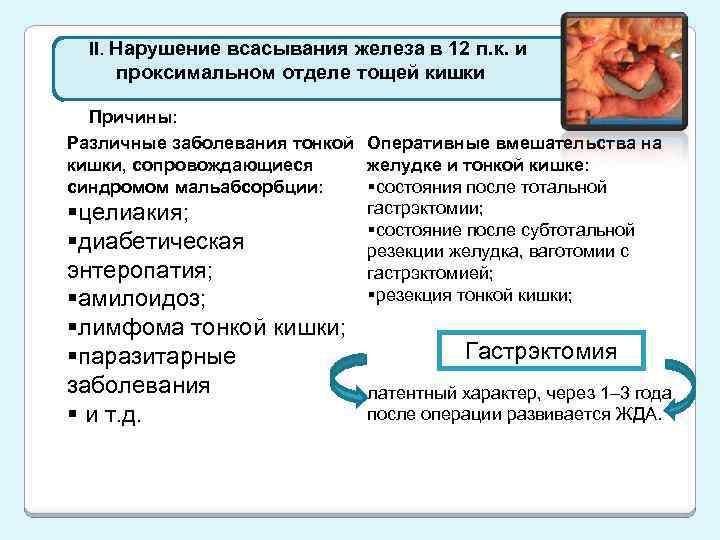 II. Нарушение всасывания железа в 12 п. к. и проксимальном отделе тощей кишки Причины: