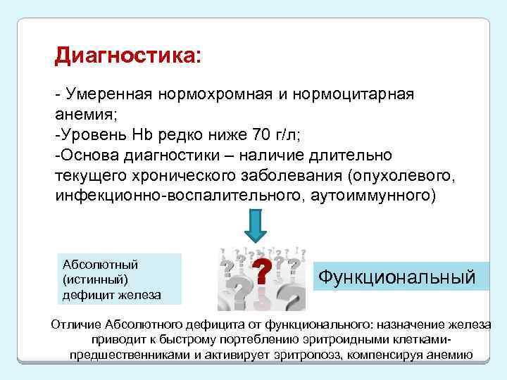 Диагностика: - Умеренная нормохромная и нормоцитарная анемия; -Уровень Hb редко ниже 70 г/л; -Основа