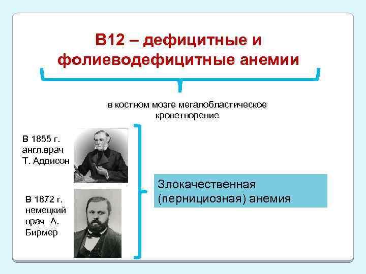 В 12 – дефицитные и фолиеводефицитные анемии в костном мозге мегалобластическое кроветворение В 1855