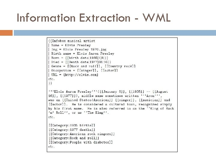 Information Extraction - WML
