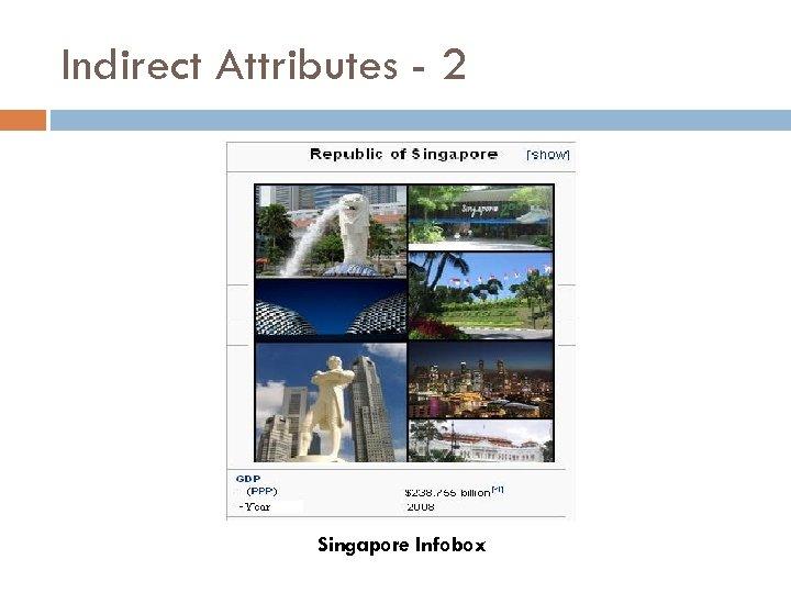 Indirect Attributes - 2 Singapore Infobox