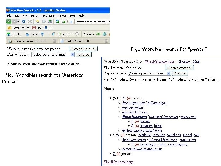 """Fig. : Word. Net search for """"person"""" Fig. : Word. Net search for 'American"""
