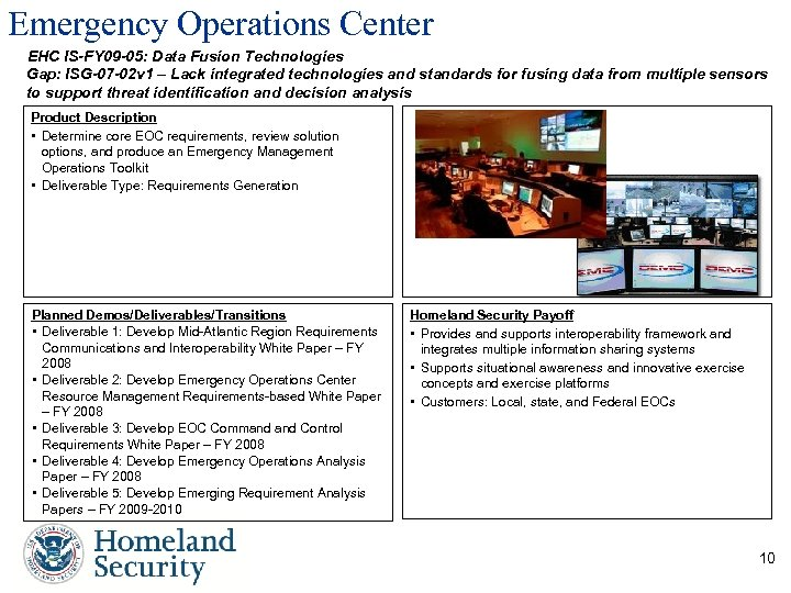 Emergency Operations Center EHC IS-FY 09 -05: Data Fusion Technologies Gap: ISG-07 -02 v
