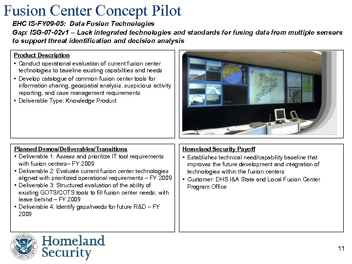 Fusion Center Concept Pilot EHC IS-FY 09 -05: Data Fusion Technologies Gap: ISG-07 -02