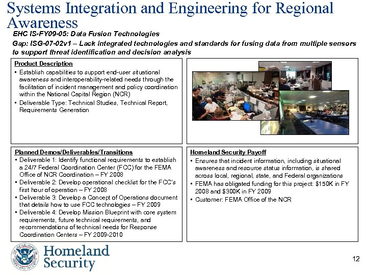 Systems Integration and Engineering for Regional Awareness Fusion Technologies EHC IS-FY 09 -05: Data