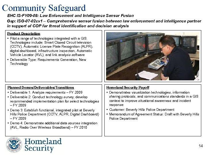 Community Safeguard EHC IS-FY 09 -08: Law Enforcement and Intelligence Sensor Fusion Gap: ISG-07