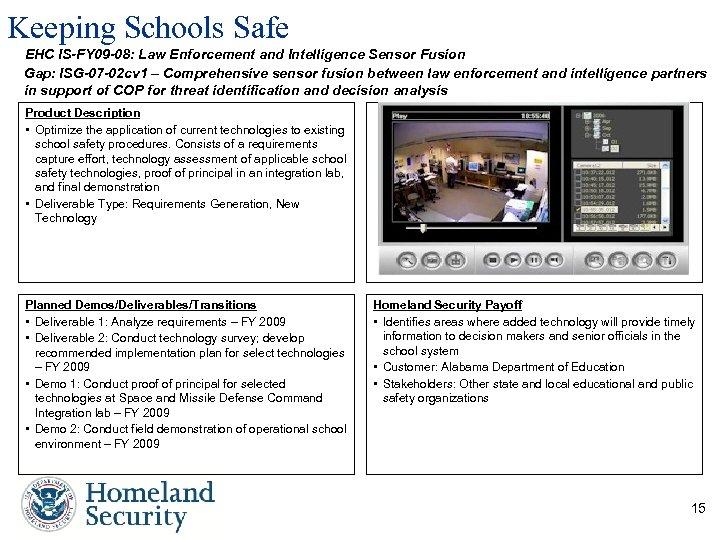 Keeping Schools Safe EHC IS-FY 09 -08: Law Enforcement and Intelligence Sensor Fusion Gap: