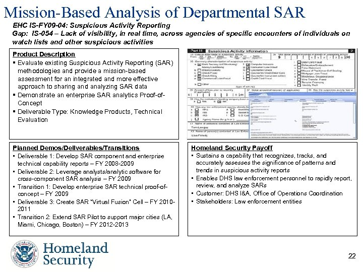 Mission-Based Analysis of Departmental SAR EHC IS-FY 09 -04: Suspicious Activity Reporting Gap: IS-054