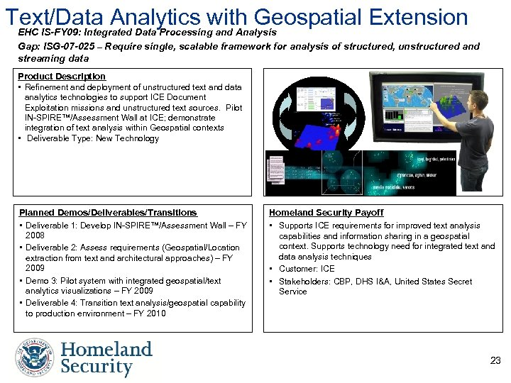 Text/Data Analytics with Geospatial Extension EHC IS-FY 09: Integrated Data Processing and Analysis Gap:
