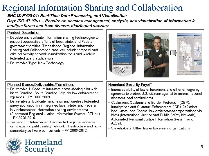 Regional Information Sharing and Collaboration EHC IS-FY 09 -01: Real-Time Data Processing and Visualization