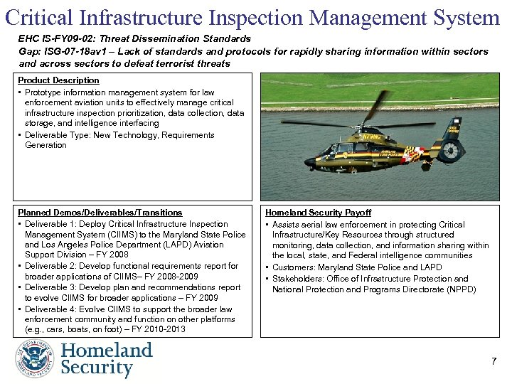 Critical Infrastructure Inspection Management System EHC IS-FY 09 -02: Threat Dissemination Standards Gap: ISG-07