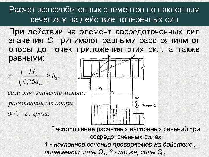 Расчет железобетонных элементов по наклонным сечениям на действие поперечных сил При действии на элемент