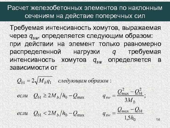 Расчет железобетонных элементов по наклонным сечениям на действие поперечных сил Требуемая интенсивность хомутов, выражаемая