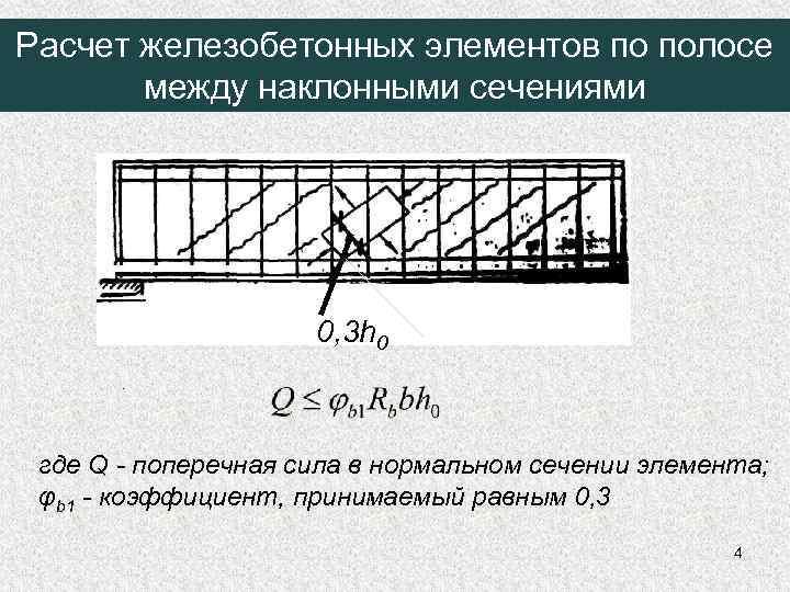 Расчет железобетонных элементов по полосе между наклонными сечениями 0, 3 h 0 где Q