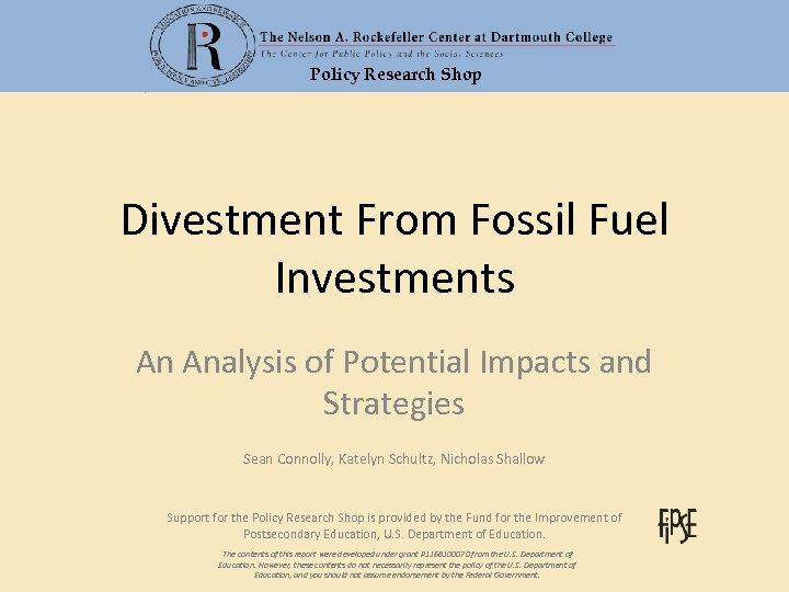Policy Research Shop Divestment From Fossil Fuel Investments An Analysis of Potential Impacts and