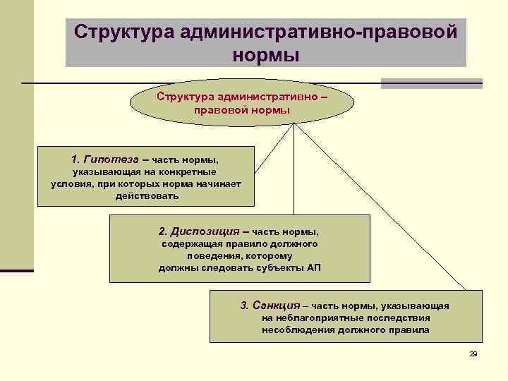 Структура административно-правовой нормы Структура административно – правовой нормы 1. Гипотеза – часть нормы, указывающая