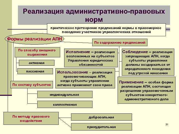 Реализация административно-правовых норм практическое претворение предписаний нормы в правомерное поведение участников управленческих отношений Формы