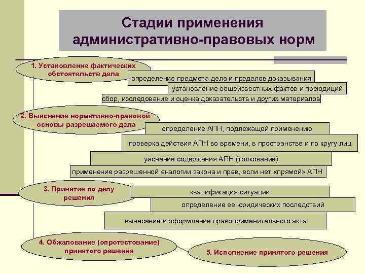 Стадии применения административно-правовых норм 1. Установление фактических обстоятельств дела определение предмета дела и пределов