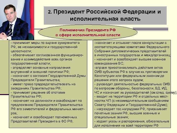 2. Президент Российской Федерации и исполнительная власть Полномочия Президента РФ в сфере исполнительной власти