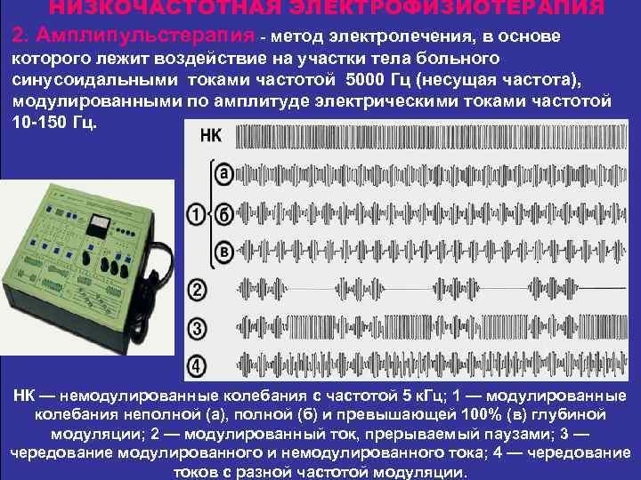 НИЗКОЧАСТОТНАЯ ЭЛЕКТРОФИЗИОТЕРАПИЯ 2. Амплипульстерапия - метод электролечения, в основе которого лежит воздействие на участки