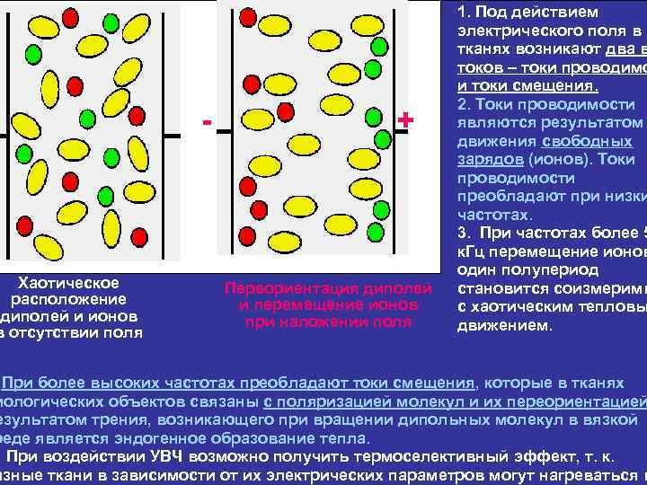 диполи Хаотическое расположение диполей и ионов в отсутствии поля   ионы Переориентация диполей и