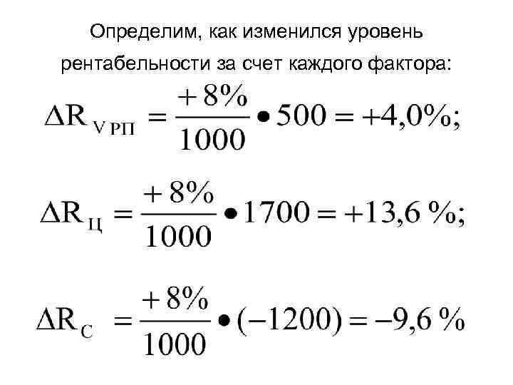 Определим, как изменился уровень рентабельности за счет каждого фактора: