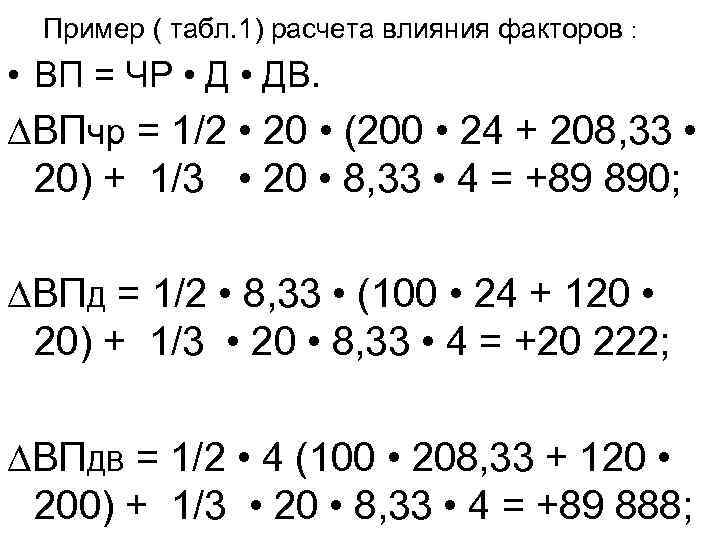 Пример ( табл. 1) расчета влияния факторов : • ВП = ЧР • ДВ.