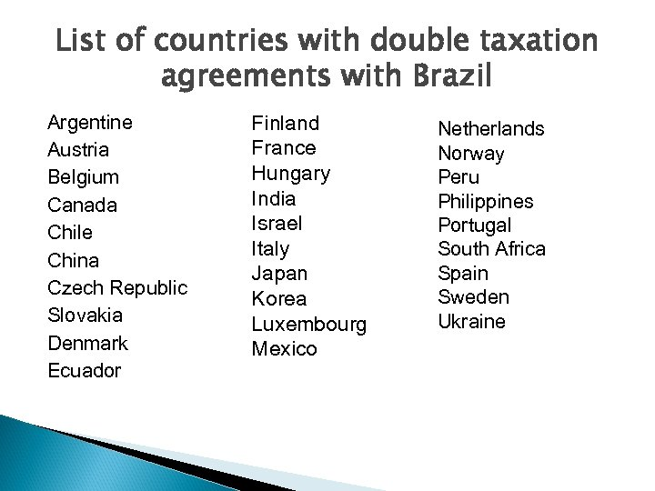 List of countries with double taxation agreements with Brazil Argentine Austria Belgium Canada Chile