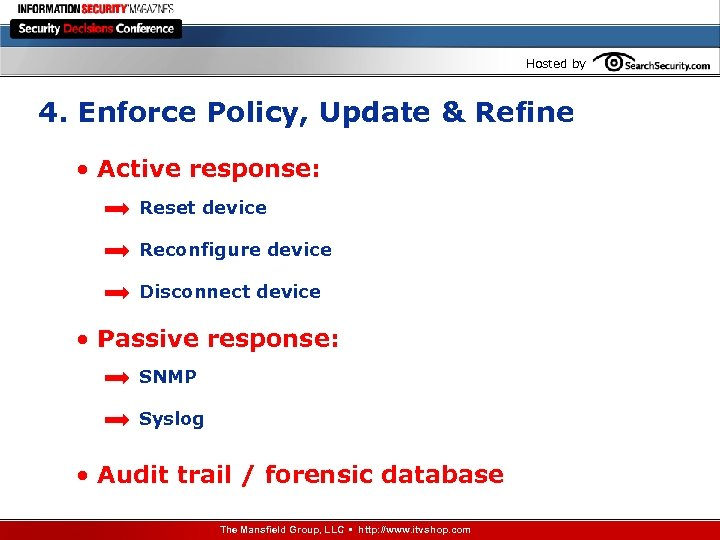 Hosted by 4. Enforce Policy, Update & Refine • Active response: Reset device Reconfigure