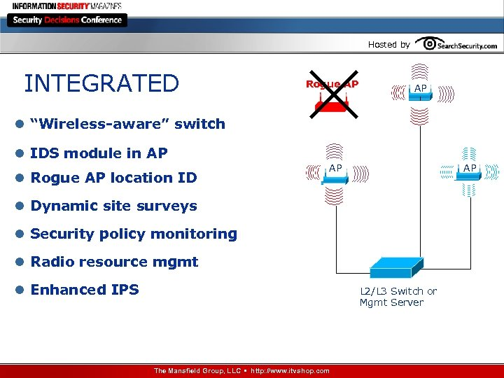 "Hosted by INTEGRATED Rogue AP AP l ""Wireless-aware"" switch l IDS module in AP"