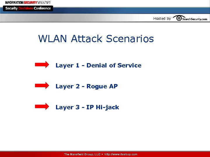 Hosted by WLAN Attack Scenarios Layer 1 - Denial of Service Layer 2 -