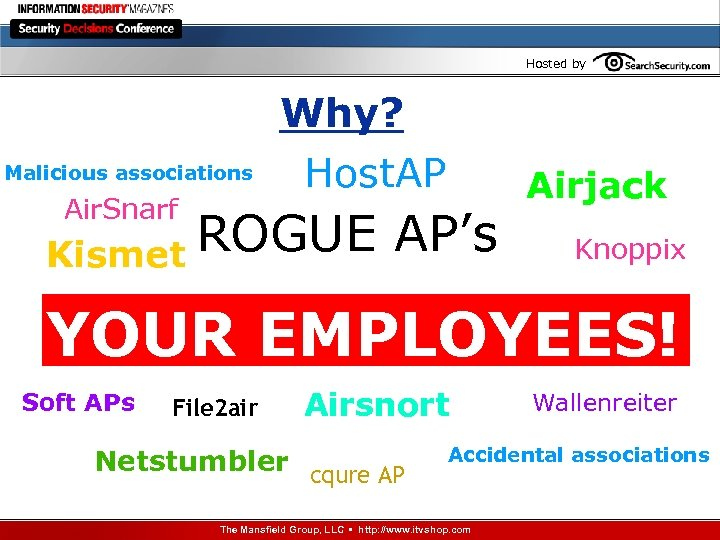 Hosted by Why? Malicious associations Air. Snarf Host. AP ROGUE AP's Kismet Airjack Knoppix