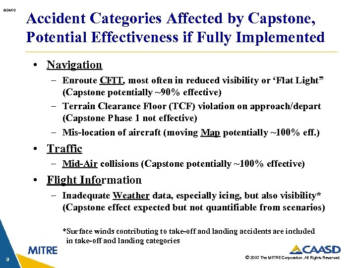 6/24/03 Accident Categories Affected by Capstone, Potential Effectiveness if Fully Implemented • Navigation –