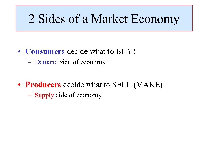 2 Sides of a Market Economy • Consumers decide what to BUY! – Demand