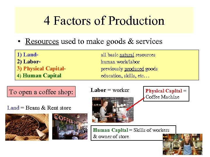 4 Factors of Production • Resources used to make goods & services 1) Land