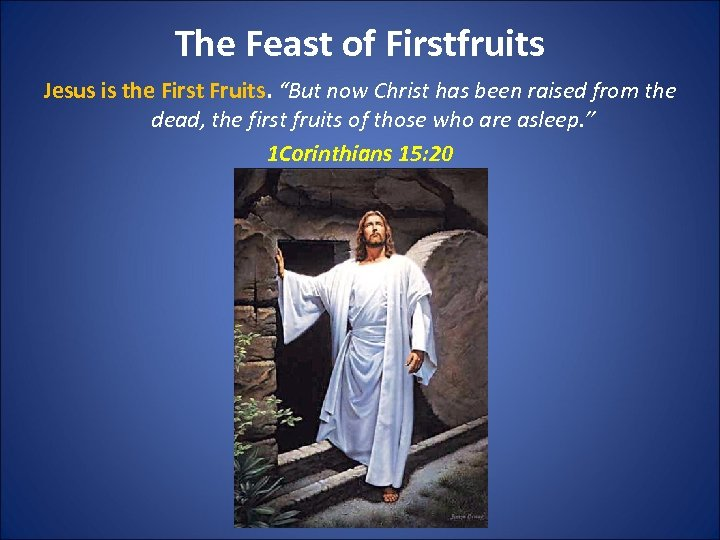 """The Feast of Firstfruits Jesus is the First Fruits. """"But now Christ has been"""