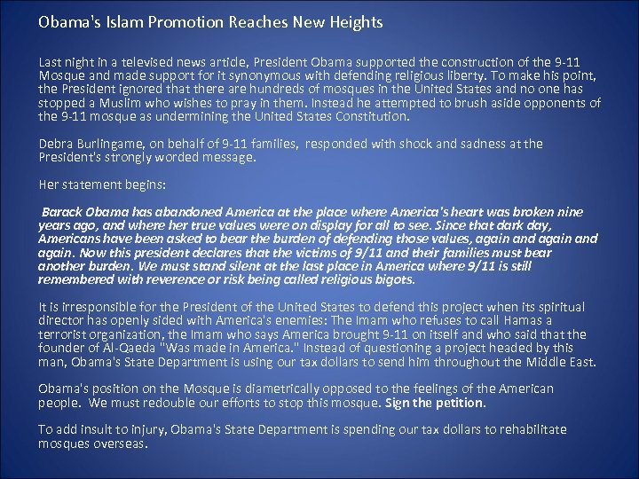 Obama's Islam Promotion Reaches New Heights Last night in a televised news article, President