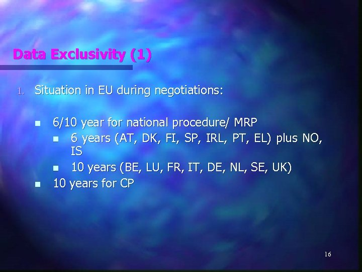 Data Exclusivity (1) 1. Situation in EU during negotiations: n n 6/10 year for