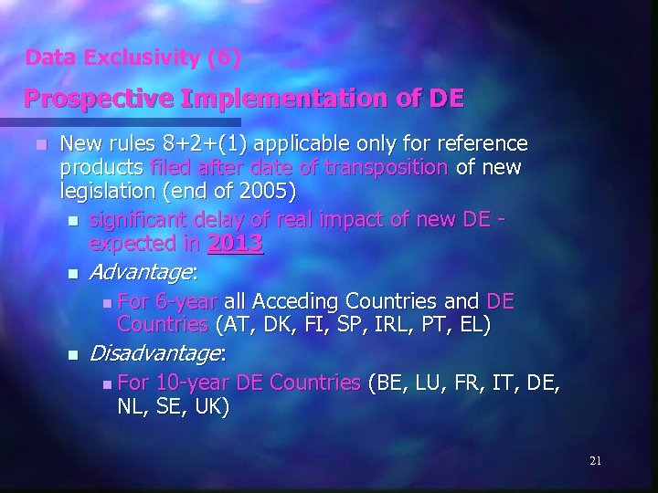 Data Exclusivity (6) Prospective Implementation of DE n New rules 8+2+(1) applicable only for
