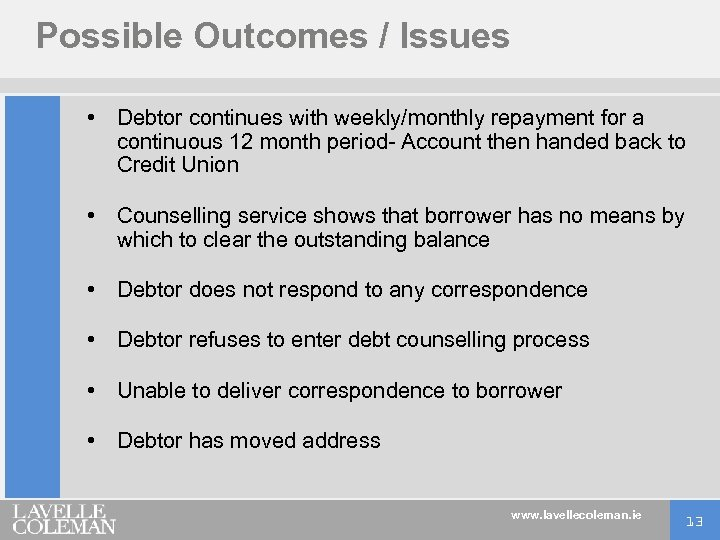 Possible Outcomes / Issues • Debtor continues with weekly/monthly repayment for a continuous 12