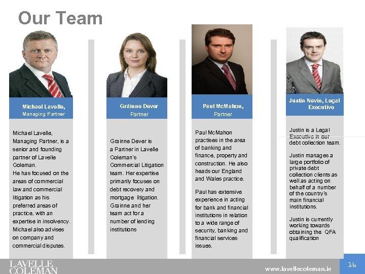 Our Team Michael Lavelle, Managing Partner Michael Lavelle, Managing Partner, is a senior and