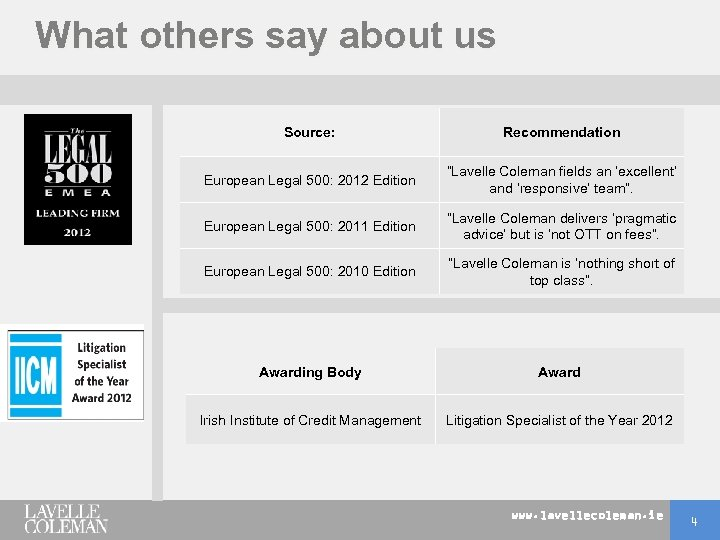 "What others say about us Source: Recommendation European Legal 500: 2012 Edition ""Lavelle Coleman"