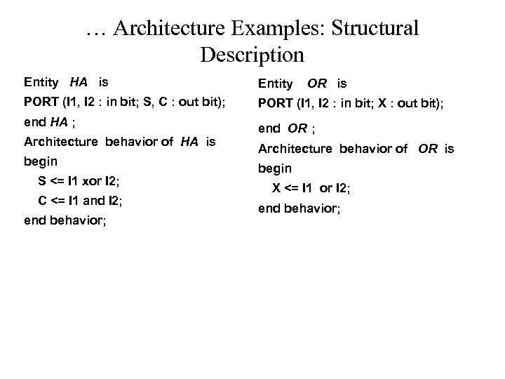 … Architecture Examples: Structural Description Entity HA is Entity PORT (I 1, I 2