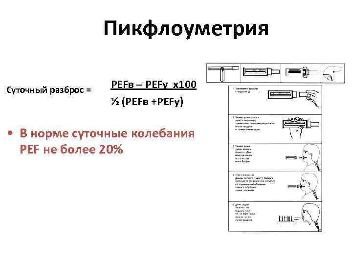 Пикфлоуметрия Суточный разброс = PEFв – PEFу х100 ½ (PEFв +PEFу) • В норме