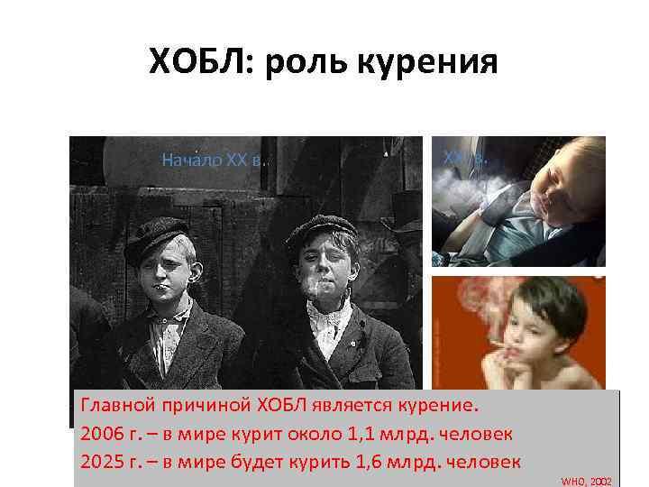 ХОБЛ: роль курения Начало XX в. XXI в. Главной причиной ХОБЛ является курение. 2006