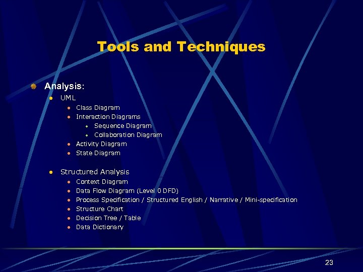 Tools and Techniques Analysis: l UML l l Class Diagram Interaction Diagrams l Sequence
