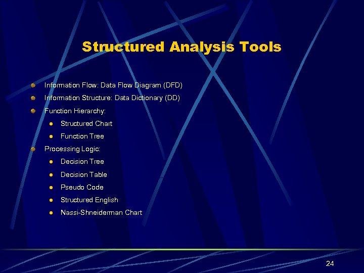 Structured Analysis Tools Information Flow: Data Flow Diagram (DFD) Information Structure: Data Dictionary (DD)