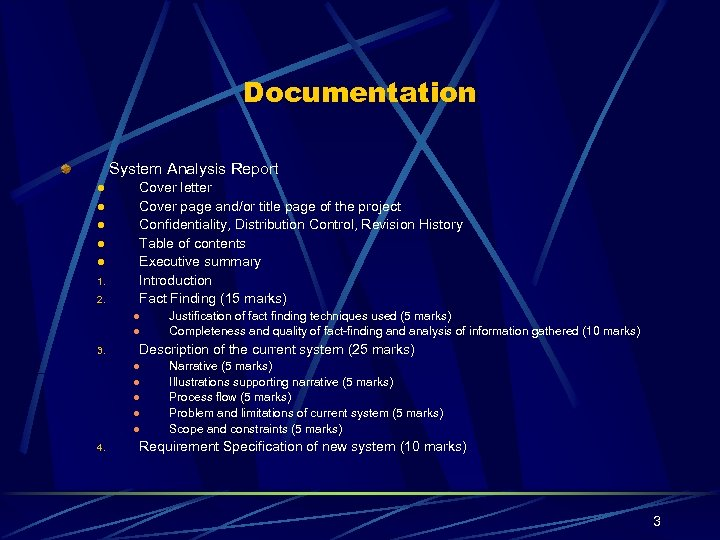 Documentation System Analysis Report l l l 1. 2. Cover letter Cover page and/or